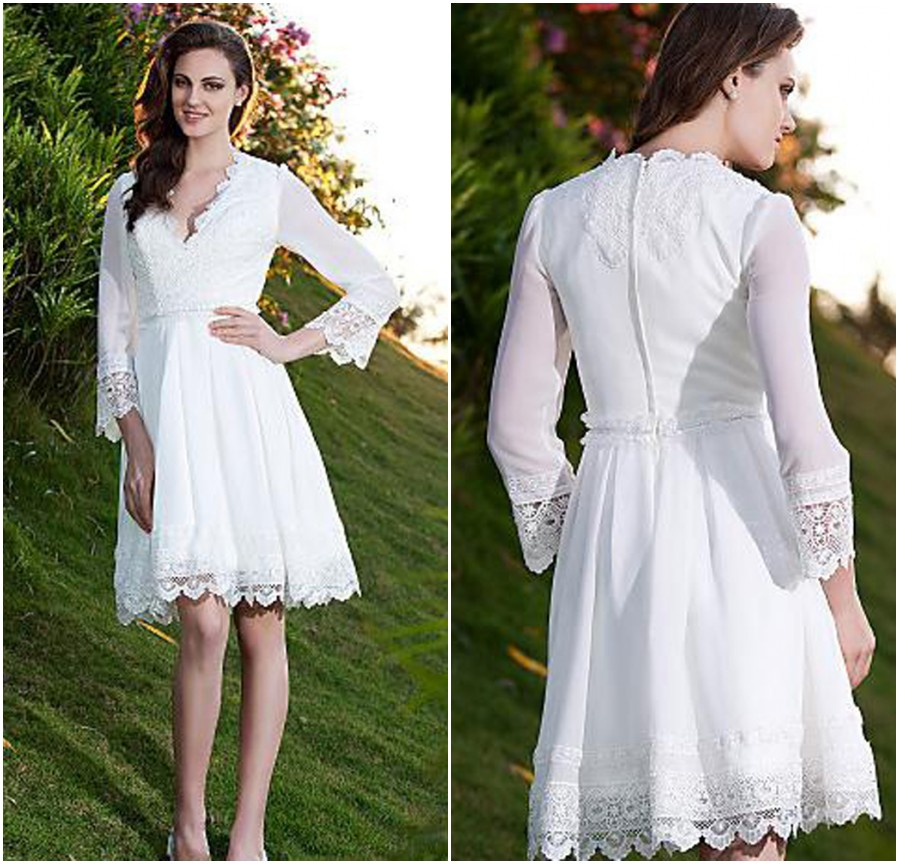 Bohemian Wedding Dresses Long Sleeves Short Knee Length Bridal Gowns Lique